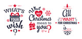 Merry christmas set of modern lettering in dark blue and red, with trendy colors, text and decoration, collection of premium vector illustration for christmas postcard, banner and wish card - 128875133