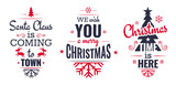 Merry christmas set of modern lettering in dark blue and red, with trendy colors, text and decoration, collection of premium vector illustration for christmas postcard, banner and wish card - 128875156