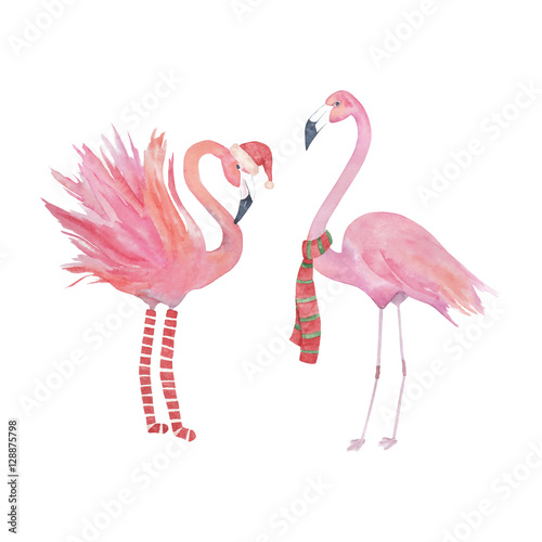 Watercolor christmas flamingo, decorative design.Isolated elements - 128875798