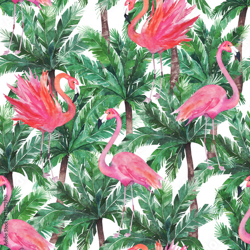 Materiał do szycia Watercolor pink flamingos, exotic birds, tropical palm leaves. S
