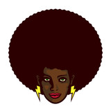 Black woman with afro hair and lightning bolt earrings vector illustration, determined groovy cool girl face - 128877169