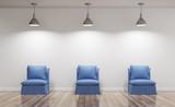 Poltrone blu illuminate in soggiorno con parquet render 3d