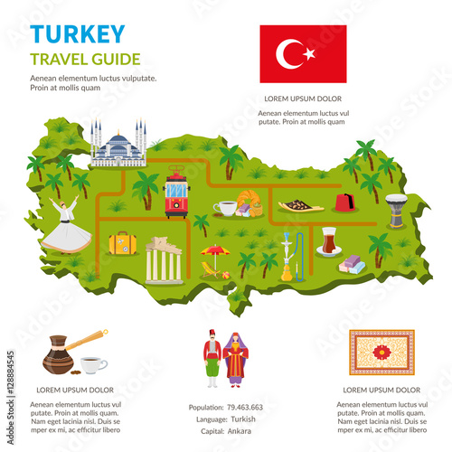 Plakát, Obraz Turkey Infographics Travel Guide Page