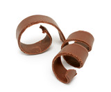 Chocolate curl isolated on white background - 128886939
