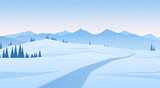 Fototapety Vector illustration: Winter scene with mountains landscape. Christmas background