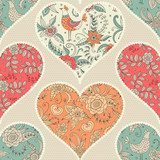 seamless pattern with hearts. patchwork