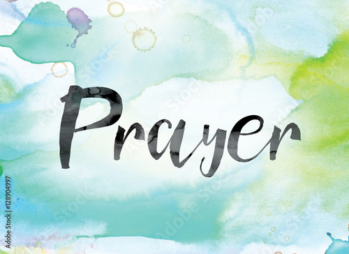 Plakát Prayer Colorful Watercolor and Ink Word Art
