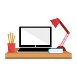 office desk work place vector illustration design