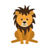 cute little lion animal character vector illustration design