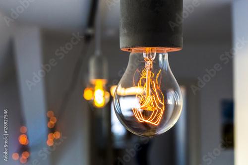 Detailaufnahme vintage Glühlampe Poster