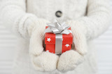Female hands in mittens holding red gift box