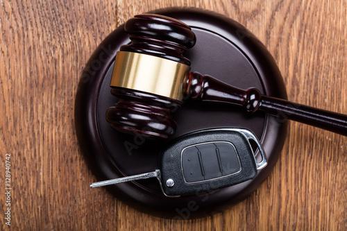 Car Key On Judges Gavel Poster