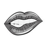 Woman lips comic style icon vector illustration graphic design