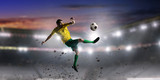 Soccer palyer kick ball