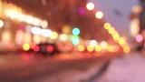 Night view of street in Saint Petersburg, russia, unfocused video