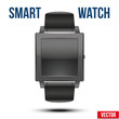 Smart design example wrist watch with empty display. Vector Illustration on white background.