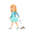 Постер, плакат: Girl Littering Teenage Bully Demonstrating Mischievous Uncontrollable Delinquent Behavior Cartoon Illustration
