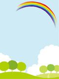 草原と虹 イラスト