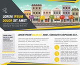 Template for advertising brochure with street of a colorful city with shops