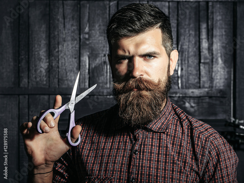 bearded man barber with scissors Poster
