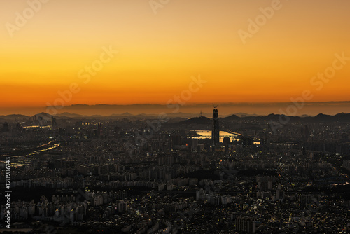 Seoul capital wide view and sunset. Poster