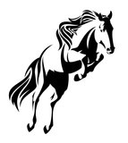 jumping horse black and white vector design