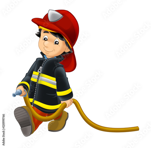 Cartoon happy and funny fireman walking - isolated background - illustration for children - 128999766
