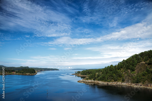Poster Summer landscape with Norwegian fjord aerial view