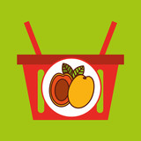 basket shopping apricot tasty fruit vector illustration eps 10