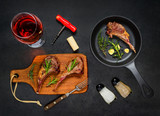 Grilled Steak Lamb Ribs with Rose Wine