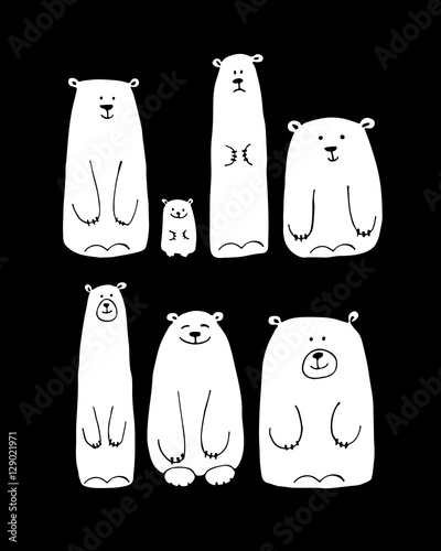 Funny white bears family, sketch for your design © Kudryashka