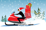 girl in a Christmas cap, on snowmobile carries gifts, winter, winter landscape