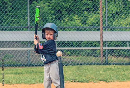 Child Playing Baseball Poster