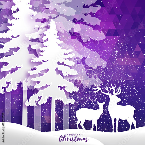 Fotobehang Violet Merry Christmas Snow Winter forest, landscape with deer couple.