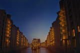 Old Speicherstadt in Hamburg at night