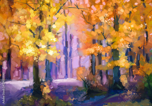 Obraz Oil painting landscape - colorful autumn trees. Semi abstract image of forest, trees with yellow - red leaf. Autumn, Fall season nature background. Hand Painted autumn landscape, Impressionist style