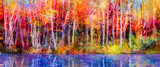 Fototapety Oil painting colorful autumn trees. Semi abstract image of forest, aspen trees with yellow - red leaf and lake. Autumn, Fall season nature background. Hand Painted Impressionist, outdoor landscape