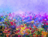 Fototapety Abstract colorful oil painting purple cosmos flower, daisy, wildflower in field. Yellow and red wildflowers at meadow with blue sky. Spring, summer season nature background.