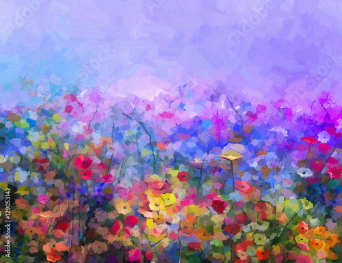 Plakat Abstract colorful oil painting purple cosmos flower, daisy, wildflower in field. Yellow and red wildflowers at meadow with blue sky. Spring, summer season nature background.