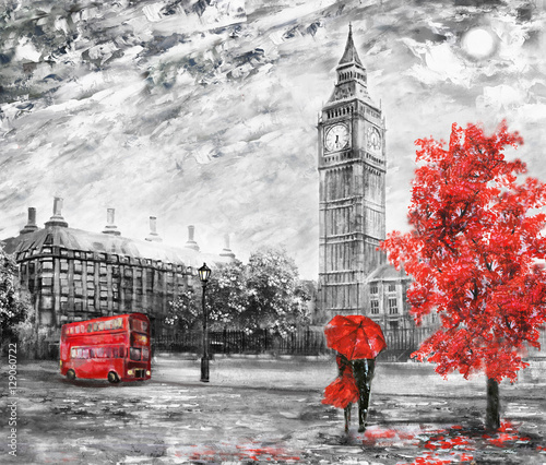 Fototapety, obrazy : oil painting on canvas, street view of london. Artwork. Big ben. man and woman under a red umbrella, bus and road. Tree. England