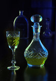 crystal glass and decanter with liquor