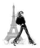 Fashion model by Eiffel tower