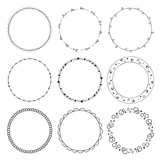 hand drawn round frames, circle ornaments - 129067116