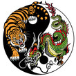 dragon and tiger yin yang symbol of harmony and balance. Vector illustration