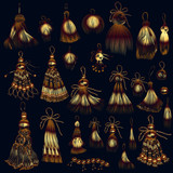Set of vector tassels in golden color for design