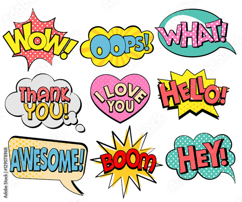 Plexiglas Pop Art Collection of speech bubbles in retro style
