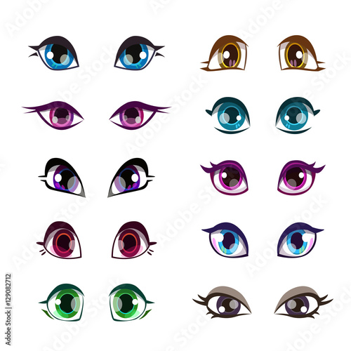 Cartoon girls eyes set. - 129082712