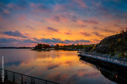 Fotobehang Lavendel View of Ramsey Lake, Ontario, Canada during sunrise