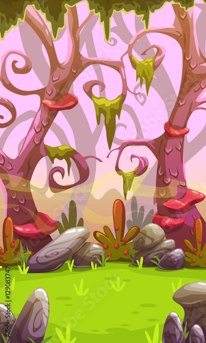 Tuinposter Purper Fantasy cartoon forest landscape.