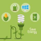 eco light bulb save energy items vector illustration eps 10